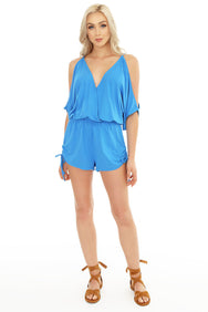 Cold Shoulder Surplice Romper - bobi Los Angeles