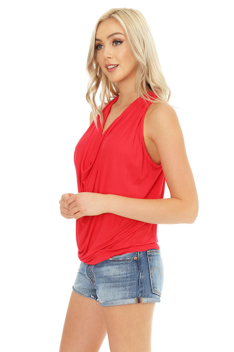 Draped Cowl Neck Tank - bobi Los Angeles