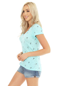 V-Neck Drink Print Tee - bobi Los Angeles