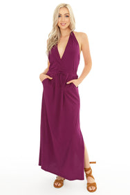 Surplice Halter Maxi Dress - bobi Los Angeles