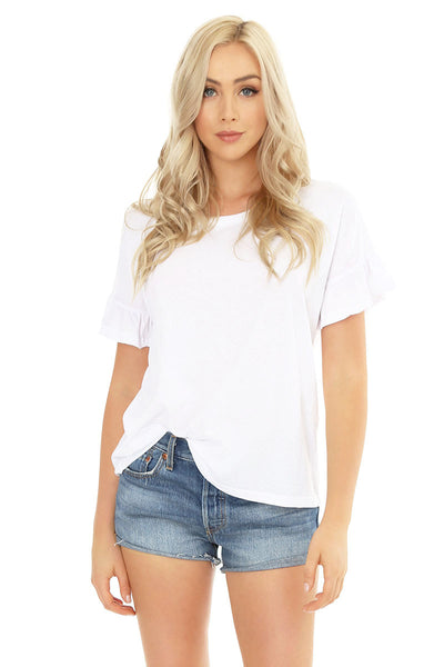 Ruffle Sleeve Tee - bobi Los Angeles