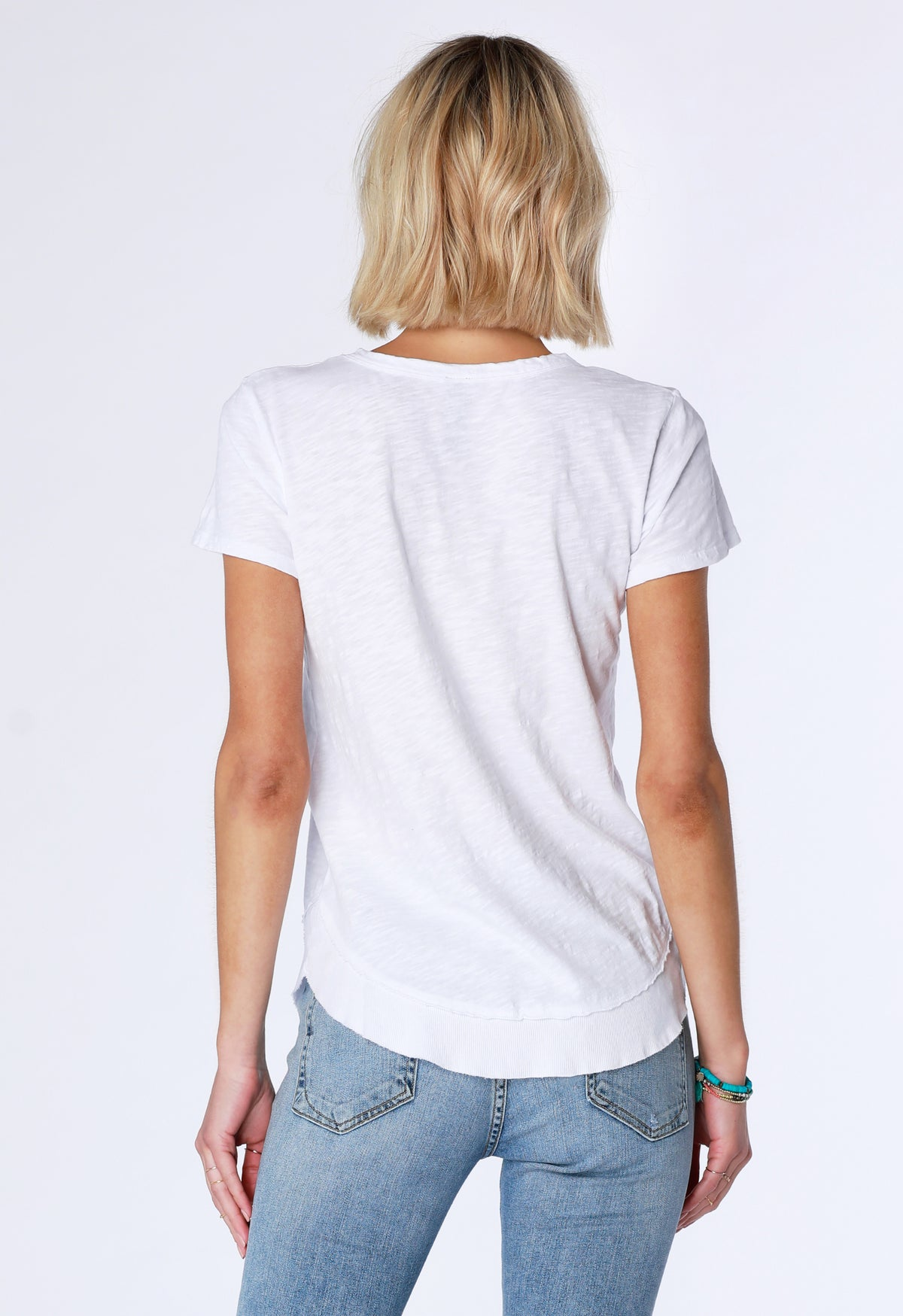 Curved Hem Rib Tee - bobi Los Angeles