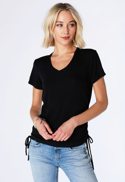 Side Shirred Rib Tee - bobi Los Angeles