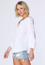 Split Neck Boho Top - bobi Los Angeles
