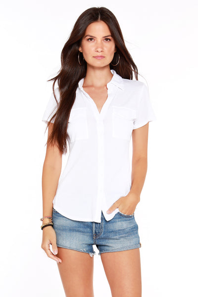 Button Front Pocket Tee