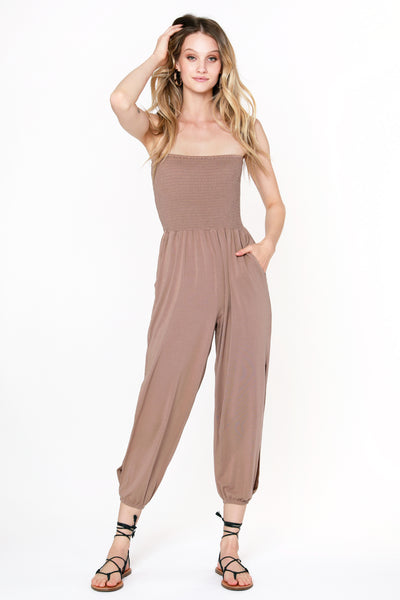 Slit Leg Smocked Jumpsuit