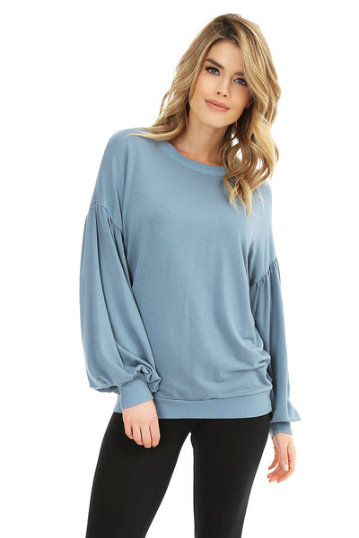 Shirred Sleeve Pullover - bobi Los Angeles