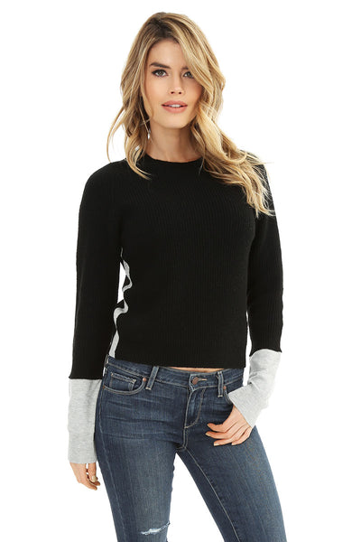Cashmere Mix Crewneck Sweater - bobi Los Angeles