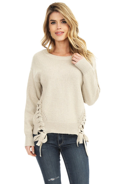 Cashmere Mix Side Lace Sweater - bobi Los Angeles