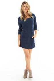 3/4 Sleeve Pocket Dress - bobi Los Angeles