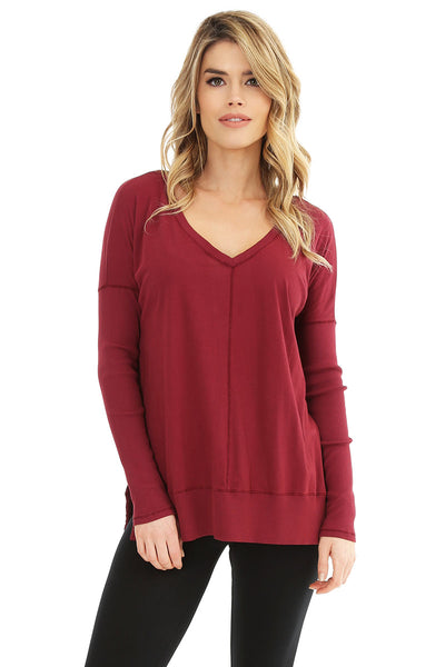 V-Neck Rib Mix Top - bobi Los Angeles