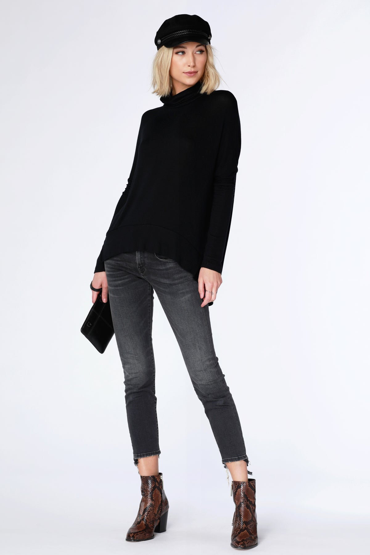 Turtleneck Drop Sleeve Top - bobi Los Angeles