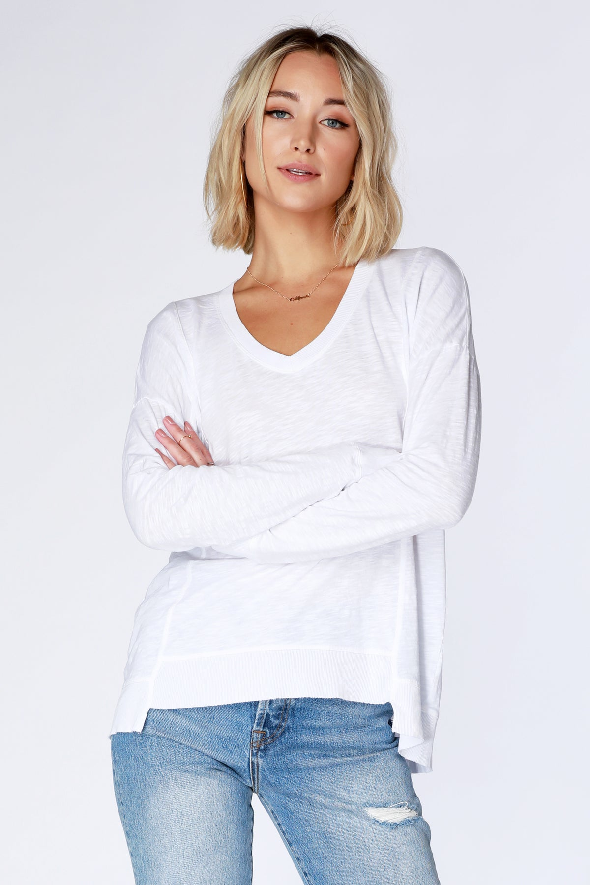 Drop Sleeve Step Hem Tee - bobi Los Angeles