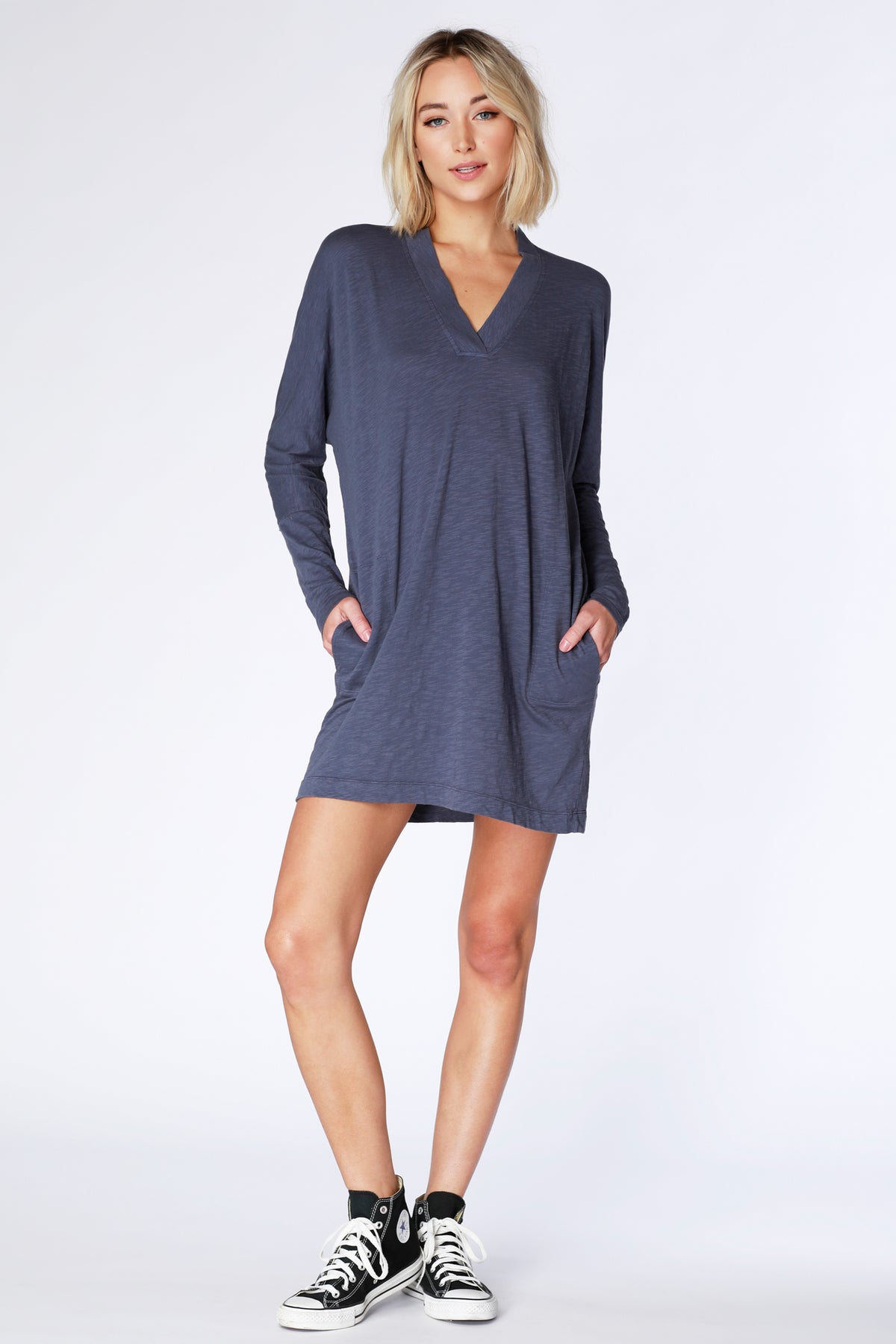 Long Sleeve V-Neck Dolman Dress - bobi Los Angeles