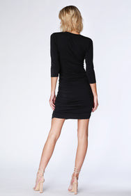 3/4 Sleeve Side Shirred Dress - bobi Los Angeles
