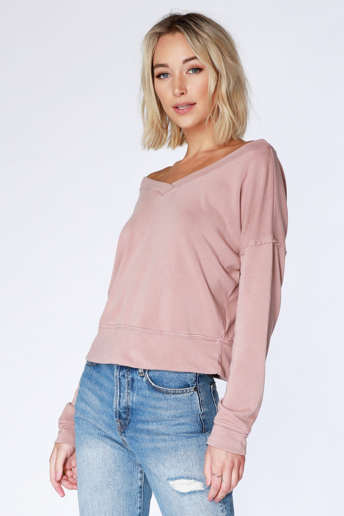 Boat Neck Cropped Sweatshirt - bobi Los Angeles
