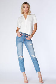 Split Neck Blouse - bobi Los Angeles