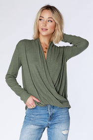 Long Sleeve Surplice Top - bobi Los Angeles