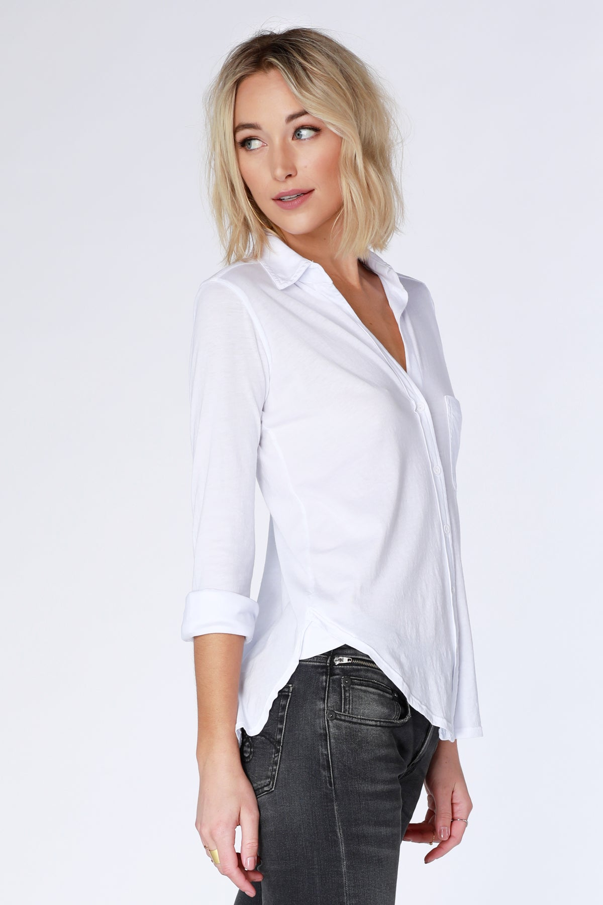 Knit Button-Up Shirt - bobi Los Angeles