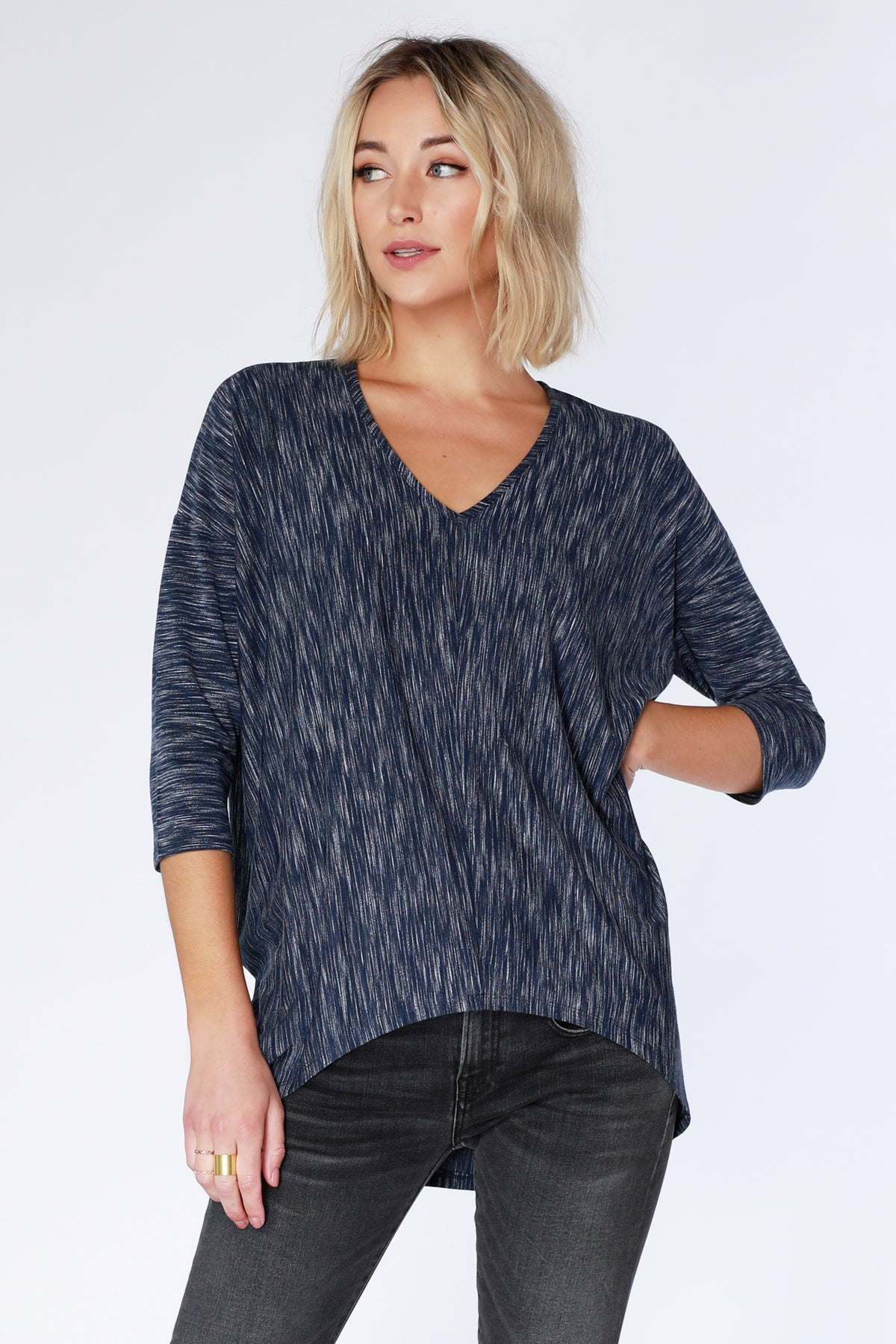 ¾ Sleeve High Low V-Neck - bobi Los Angeles