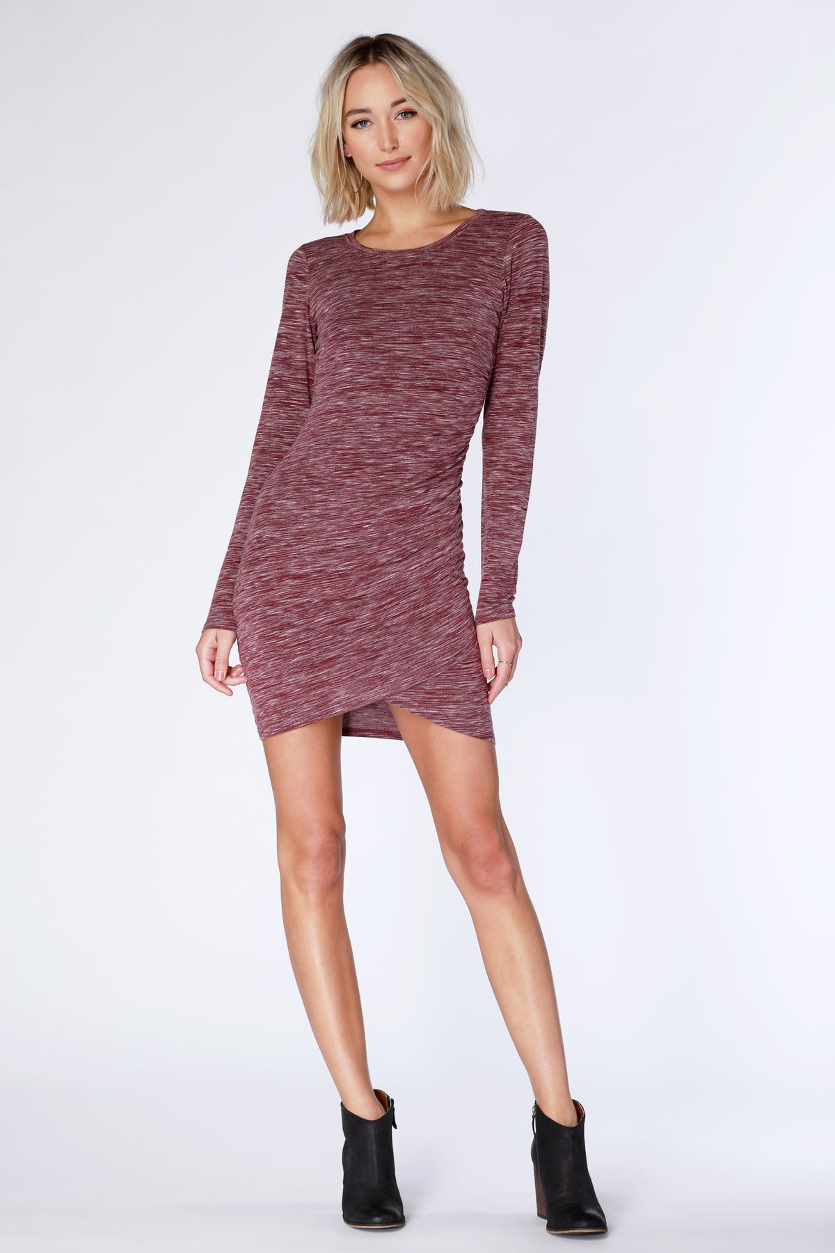 Long Sleeve Surplice Dress - bobi Los Angeles