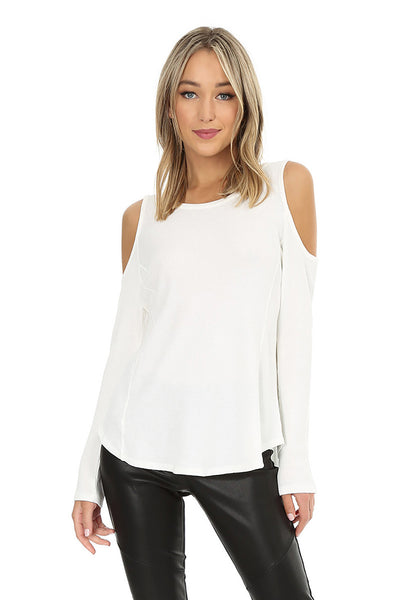 Long Sleeve Cold Shoulder Top - bobi Los Angeles