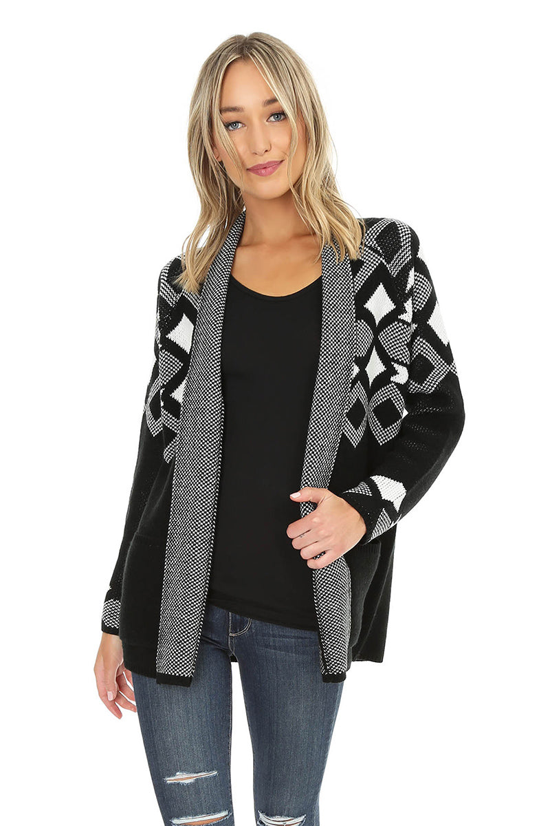 Jacquard Cardigan Sweater - bobi Los Angeles
