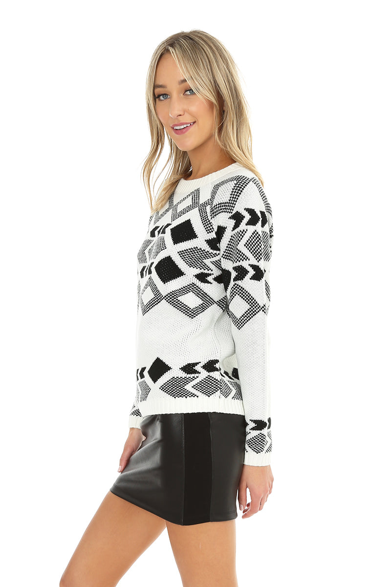 Jacquard Crew Neck Sweater - bobi Los Angeles