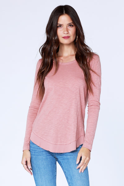 Round Hem Rib Mix Tee - bobi Los Angeles