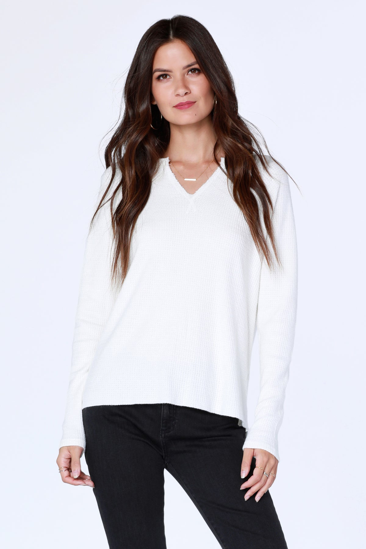 Split Neck Raglan Top - bobi Los Angeles