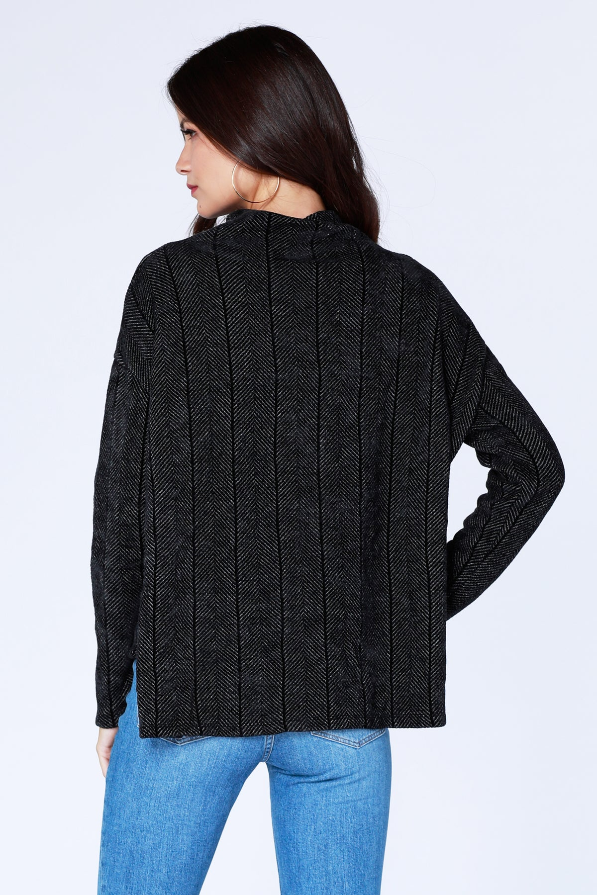 Boxy Mock Neck Sweater - bobi Los Angeles