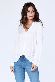 Knot Hem Button Up Blouse - bobi Los Angeles