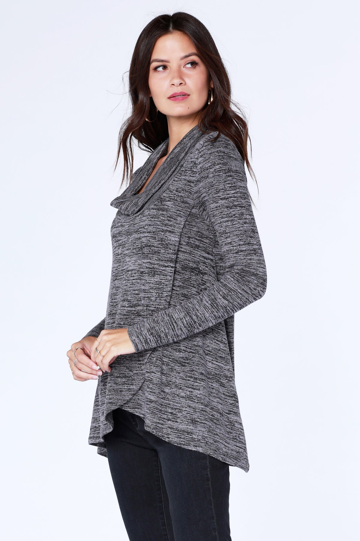 Cowl Crossover Hem Top - bobi Los Angeles