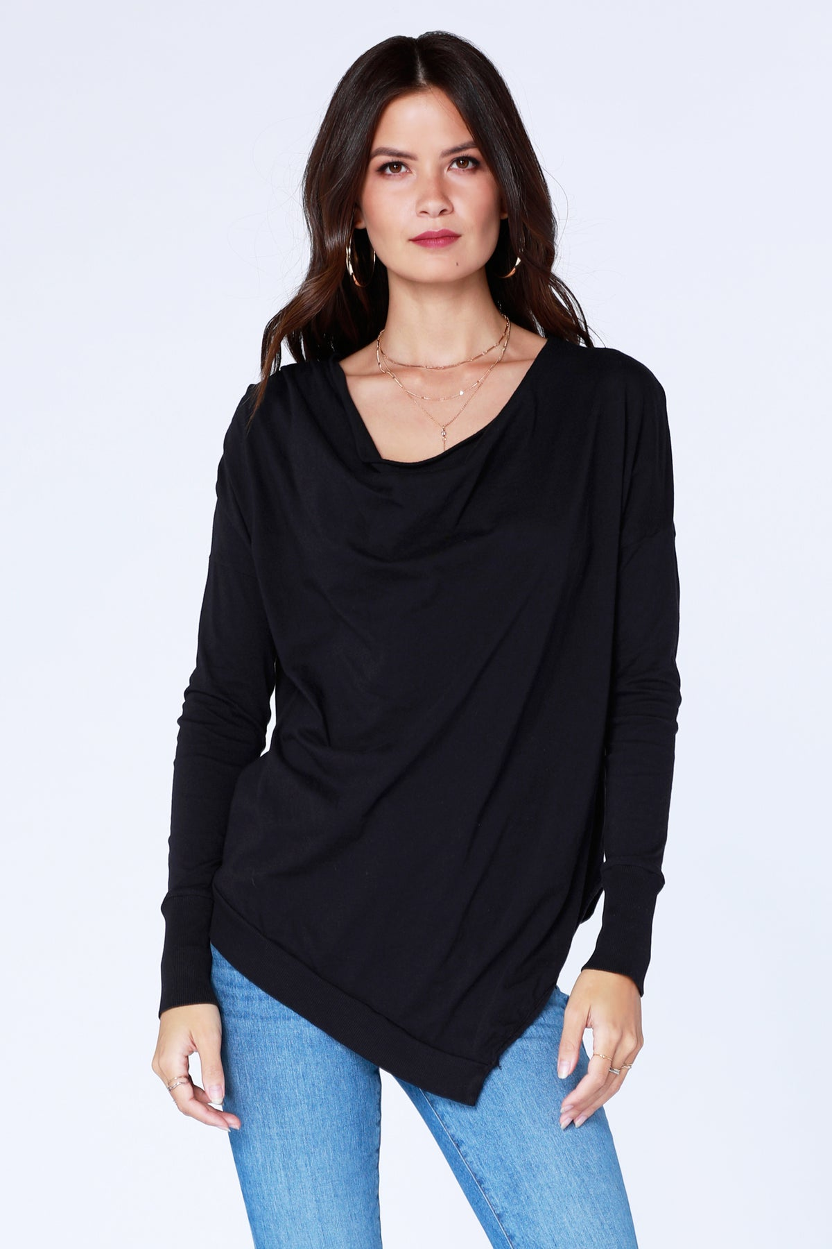 Cowl Rib Mix Top - bobi Los Angeles