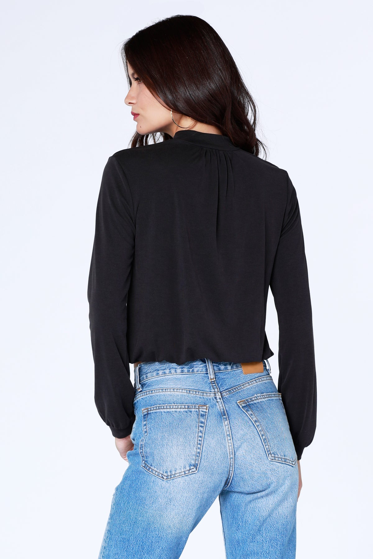 Cropped Mock Neck Top - bobi Los Angeles