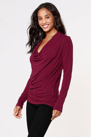 COSMO JERSEY COWL NECK TOP