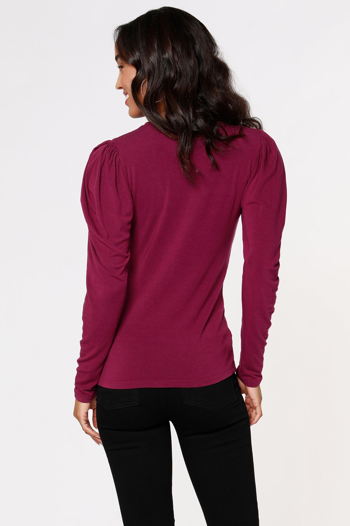 COSMO JERSEY SHIRRED SLEEVE TOP