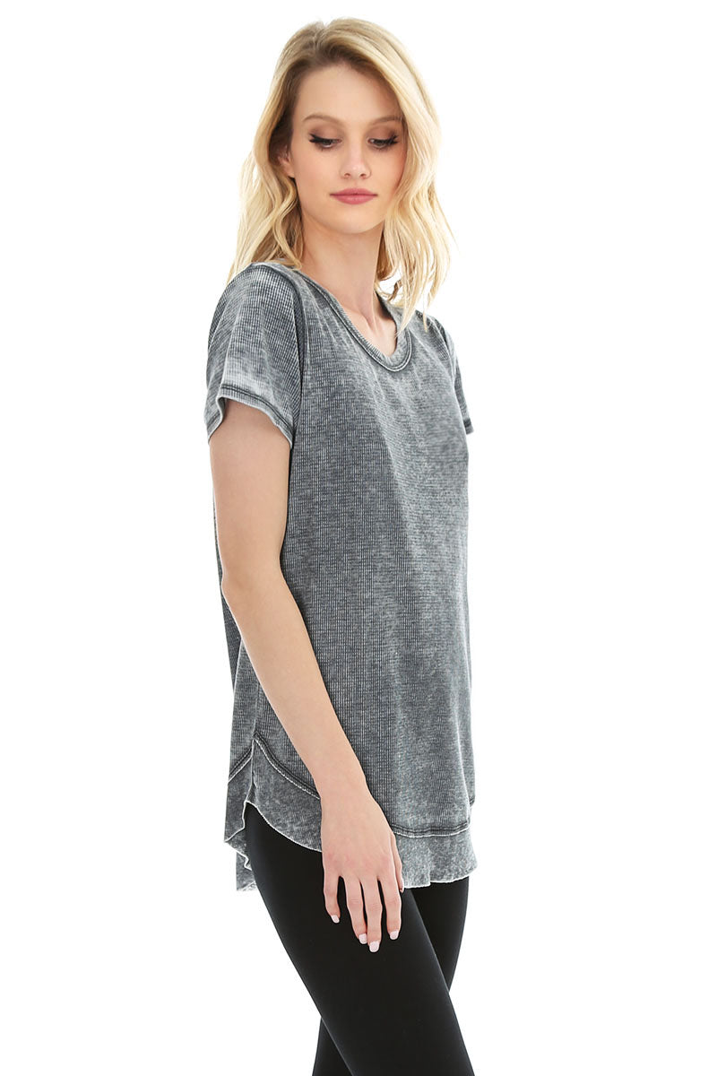 Short Sleeve Rib Hem Tee - bobi Los Angeles