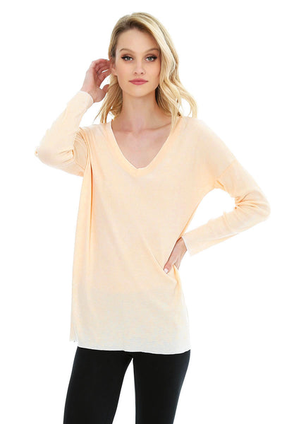 Long Sleeve V-Neck Tee - bobi Los Angeles