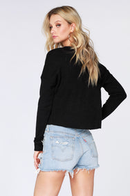 Boxy Cropped Henley - bobi Los Angeles