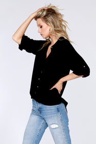 Twist Hem Button Up Shirt - bobi Los Angeles