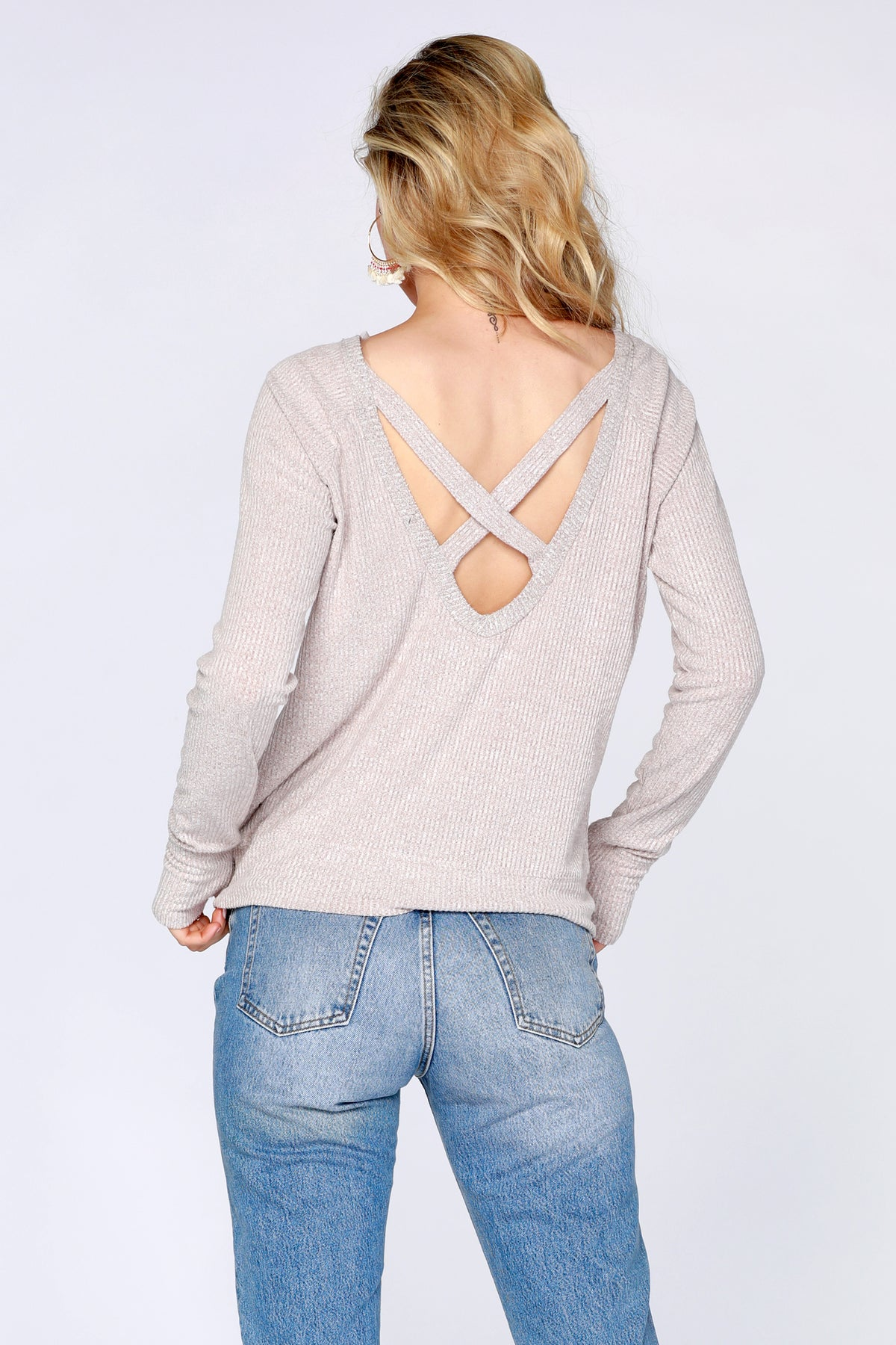 Rib Cross Back Top - bobi Los Angeles
