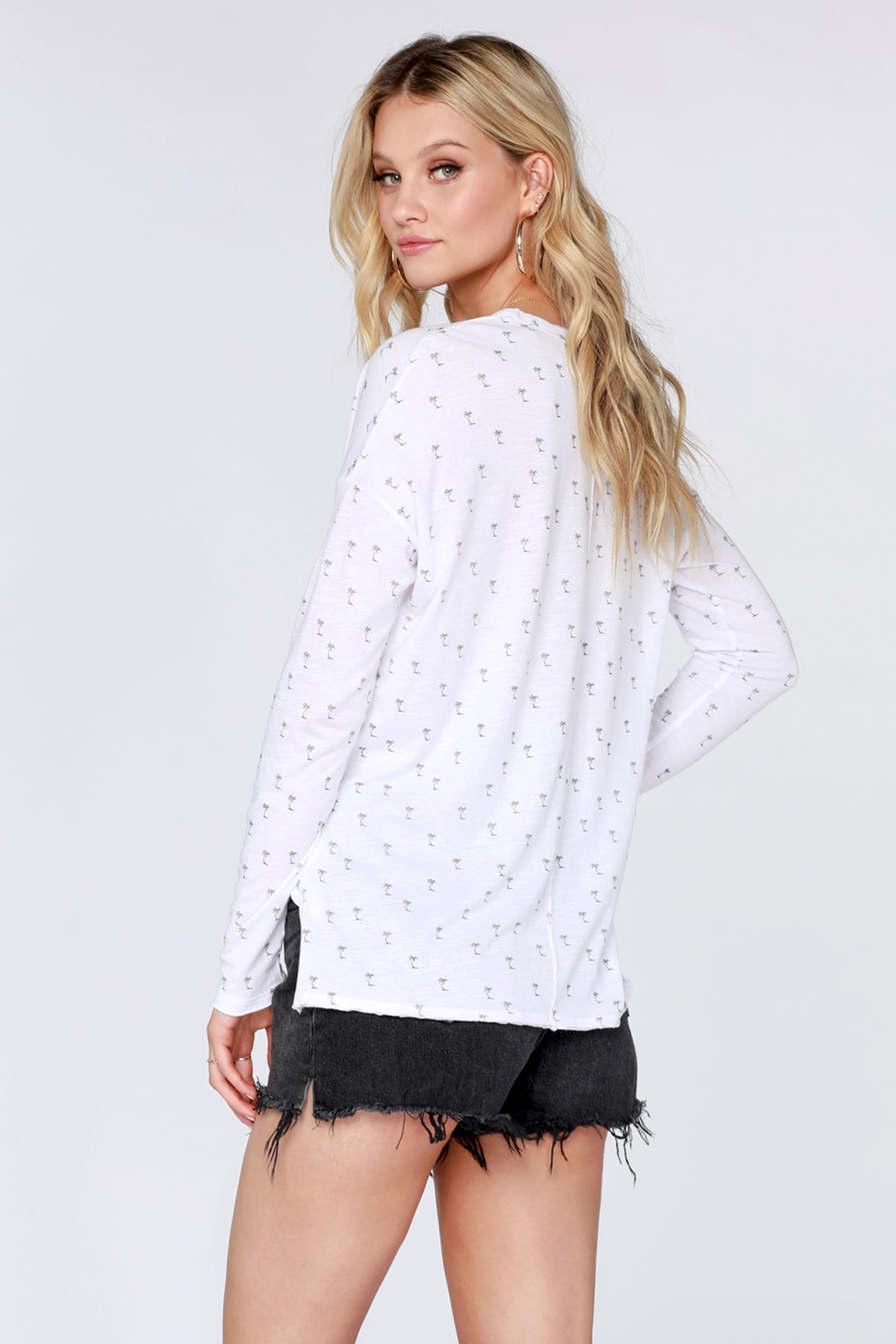 Palm Print Long Sleeve Tee - bobi Los Angeles