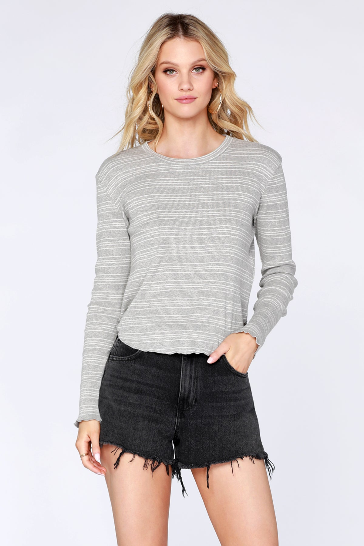 Striped Rib Crop Top - bobi Los Angeles