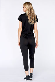 Short Sleeve Henley Jumpsuit - bobi Los Angeles