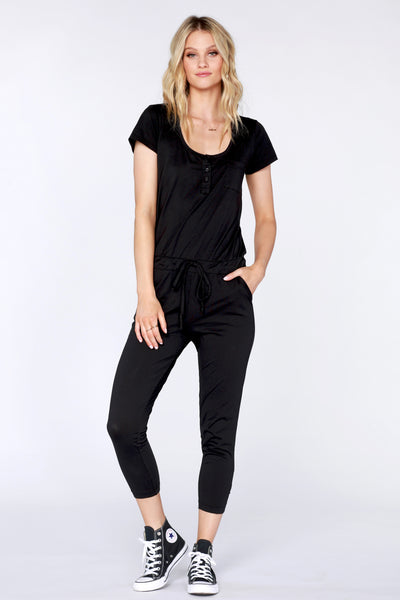 Short Sleeve Henley Jumpsuit