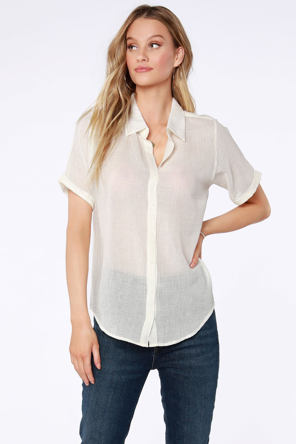 Gauze Button Up Top