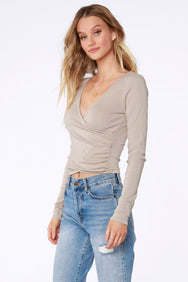 Ribbed Surplice Top