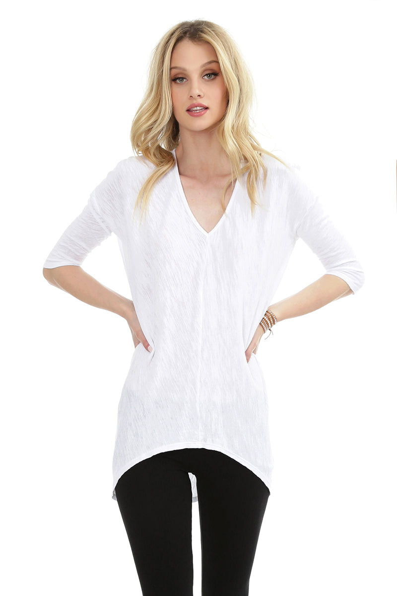 ¾ Sleeve High Low Tunic - bobi Los Angeles