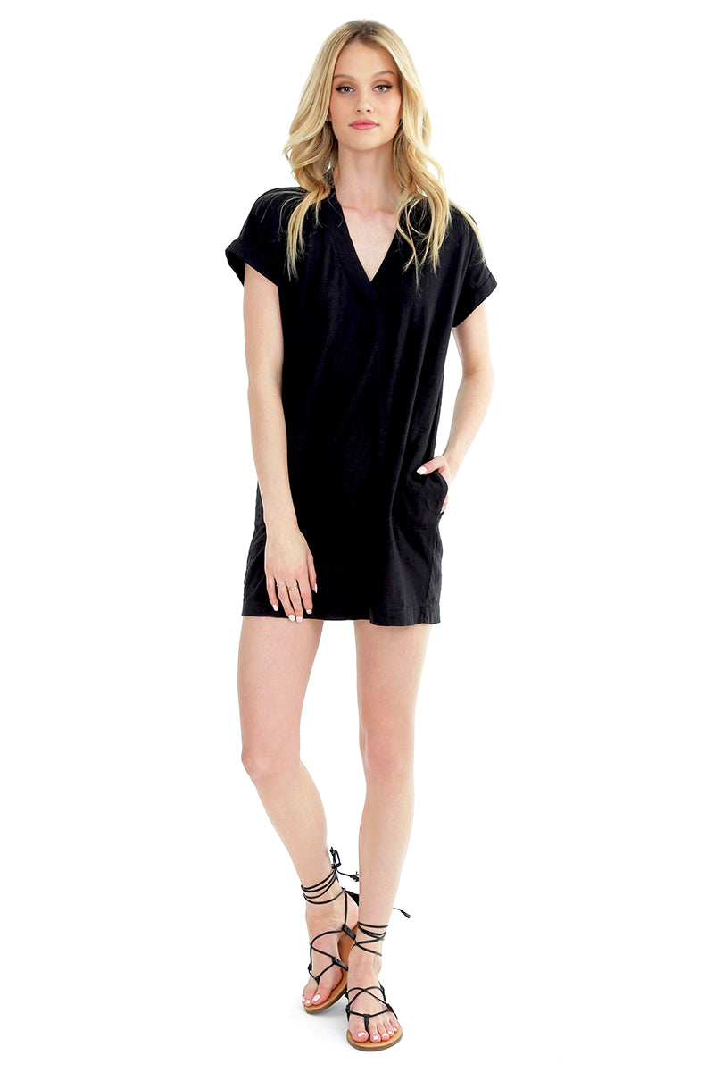 Rolled Cuff T-Shirt Dress - bobi Los Angeles